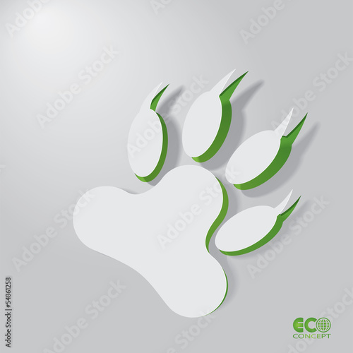 Green Eco concept - Abstract animal footprint.