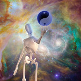 Robot holds yin yang sphere with nebulous space background poster