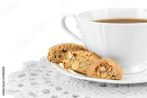Aromatic cookies cantuccini and cup of coffee isolated on white