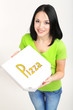 Beautiful girl with pizza in pizza box isolated on white
