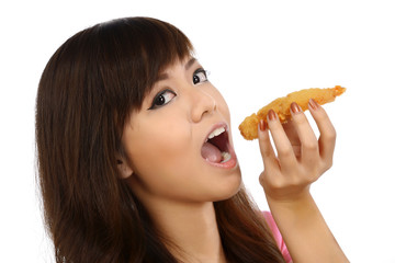 Asian Woman Eating Japanese Food