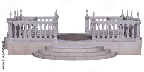 antique terrace isolated on white background