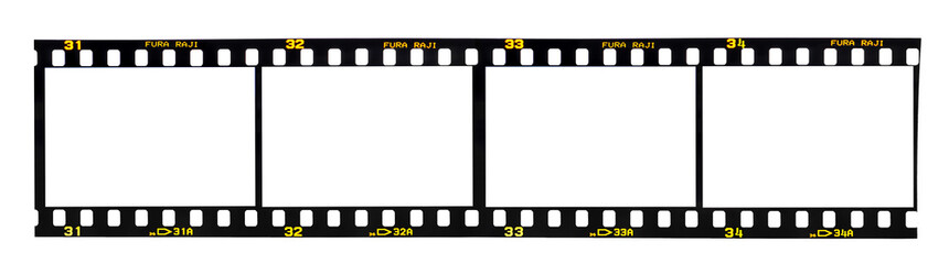 Old fashioned 35mm filmstrip isolated on white background