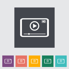 Video player flat icon.