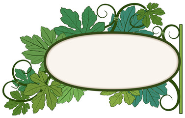 Signboard of a green leaf
