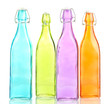 Empty color glass bottles, isolated on white