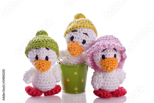 stuffed animal duck chicks with hat and basket
