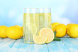 Delicious lemonade on table on blue background
