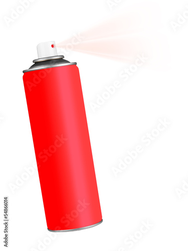 Red spray aerosol can over white
