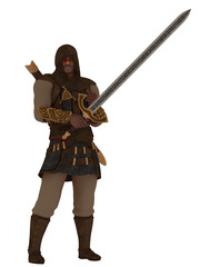 Fantasy hooded assassin with greatsword