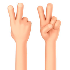 3d render of a hand showing two fingers or peace sign
