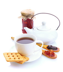 light breakfast with tea and homemade jam, isolated on white