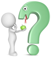 Temptations.The Dude, an apple and a question mark-snake