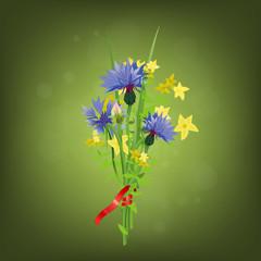 red_ribbon&cornflower_bouquet