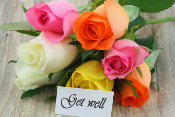 Get well card with colorful roses