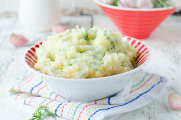 .Mashed potatoes or baked with garlic