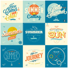 Set of Summer typography background designs