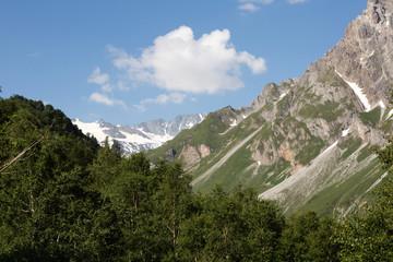 Glacier de Peclet-Polset, vallée et versant
