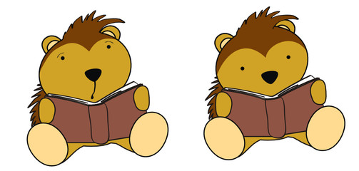 porcupine baby cartoon reading set