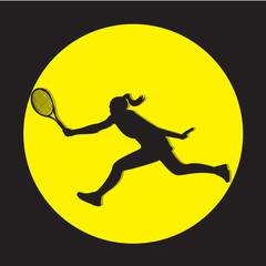 Tennis Girl Silhouette Illustration