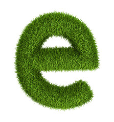 Natural grass letter e lowercase