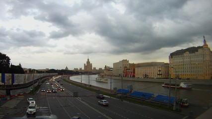 evening embankment Moscow time lapse