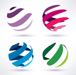 set of 3d  abstract globe icons