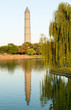 Washington Monument scaffolding reflecting in pool
