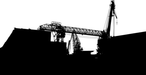 Vector of silhouettes of port constructions