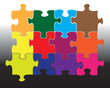 Twelve jigsaw pieces