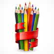 Colored wooden pencils tied with red ribbon on white, vector