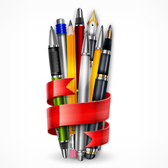 Pens and pencils tied with red ribbon on white, vector