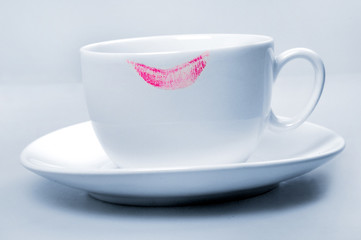 Lipstick pink on  white cup