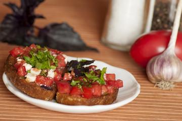 Italian Bruschetta with tomatoes and feta