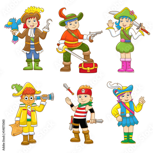 set of pirate child cartoon