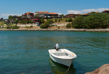 White boat near Old Nessebar shoe