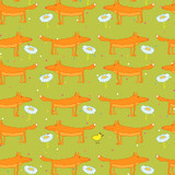 Seamless Pattern with a Red Fox and Camomiles and a Chicken