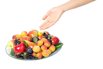 meal with a variety of delicious ripe fruit