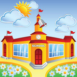 Vector cartoon school  building
