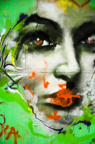 Fototapeten,graffiti,graffiti,frau,gesicht