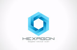 Logo hexagon abstract. Business technology science theme