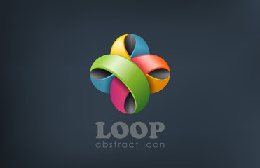 Logo ribbon flower abstract loop shape. Fun, event, celebrate