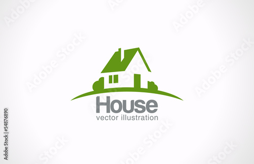 Logo House abstract real estate countryside. Realty icon