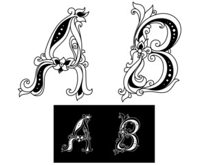 Title letters A and B
