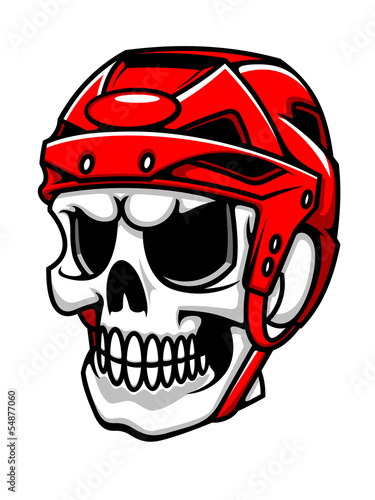 Skull in hockey helmet