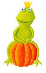 Frog prince sitting on pumpkin