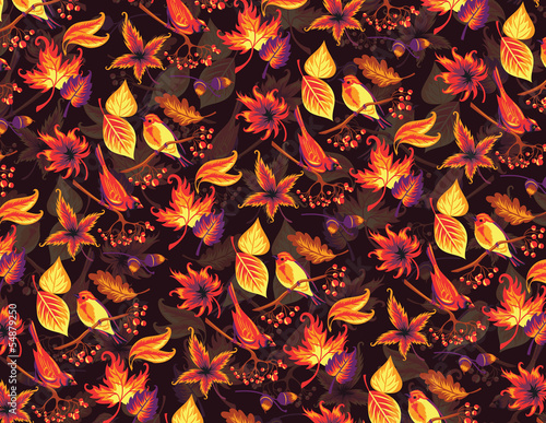 Seamless autumn pattern with birds and leaves.
