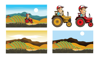 Tractor in Farm Game Art