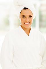 pretty woman in white bathrobe