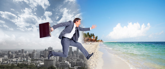 Businessman jumping on the water.
